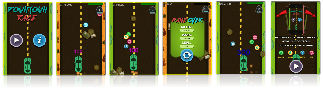 Downtown Race - Device Tilt Control + ADS Enabled +Endless runner + Obstacles & Powerups - 2